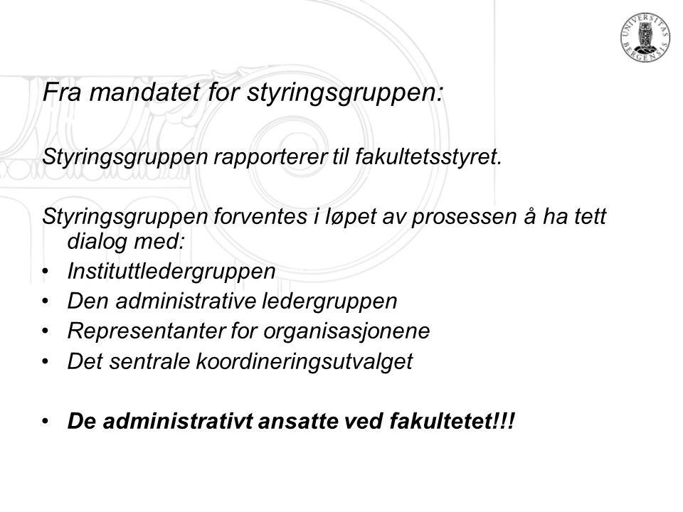 Fra mandatet for styringsgruppen: