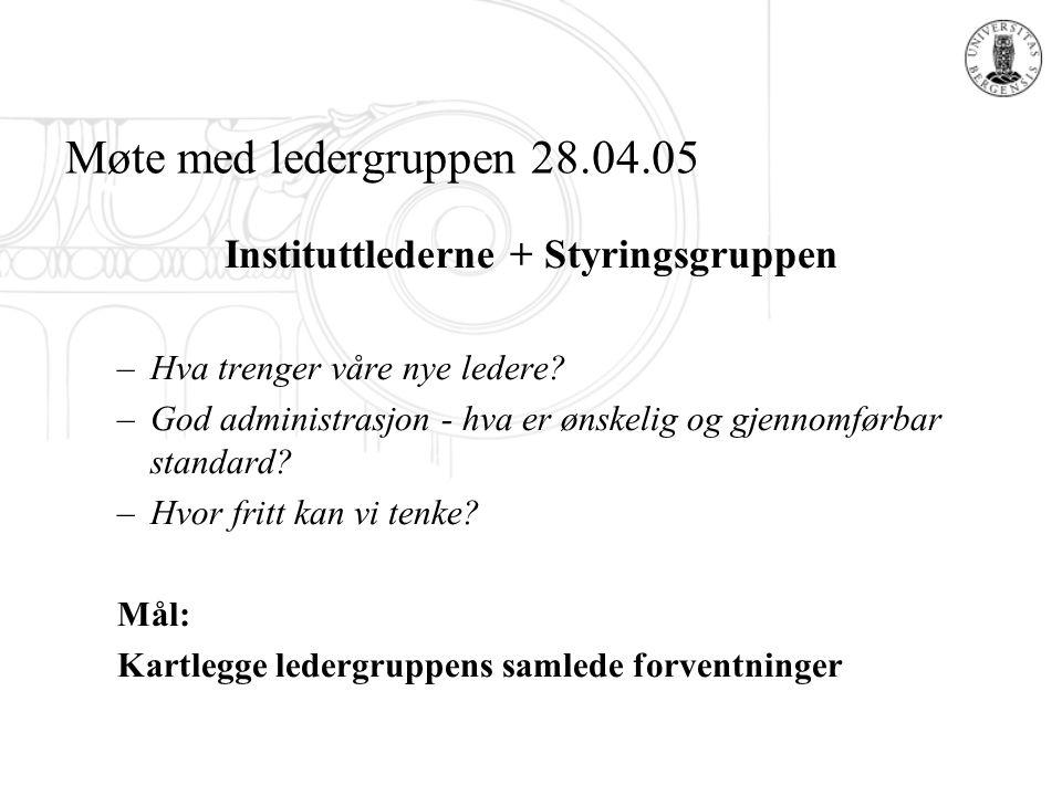 Instituttlederne + Styringsgruppen