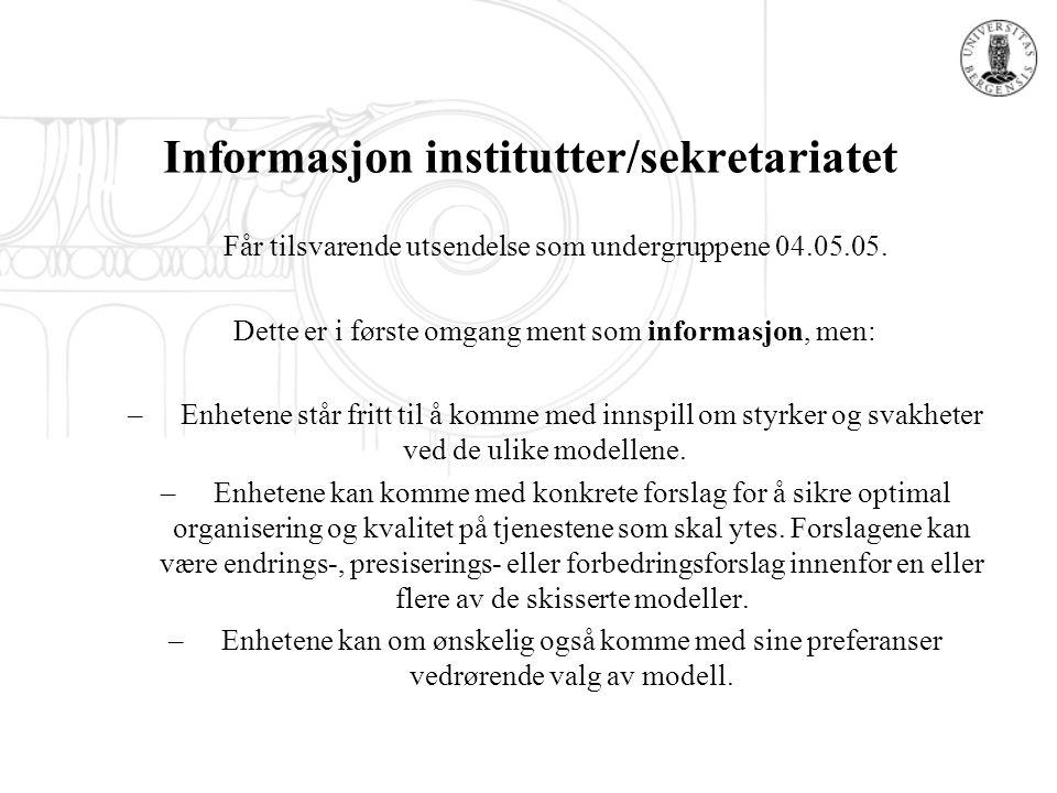Informasjon institutter/sekretariatet