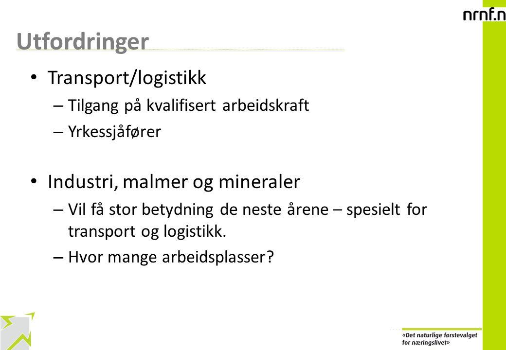 Utfordringer Transport/logistikk Industri, malmer og mineraler