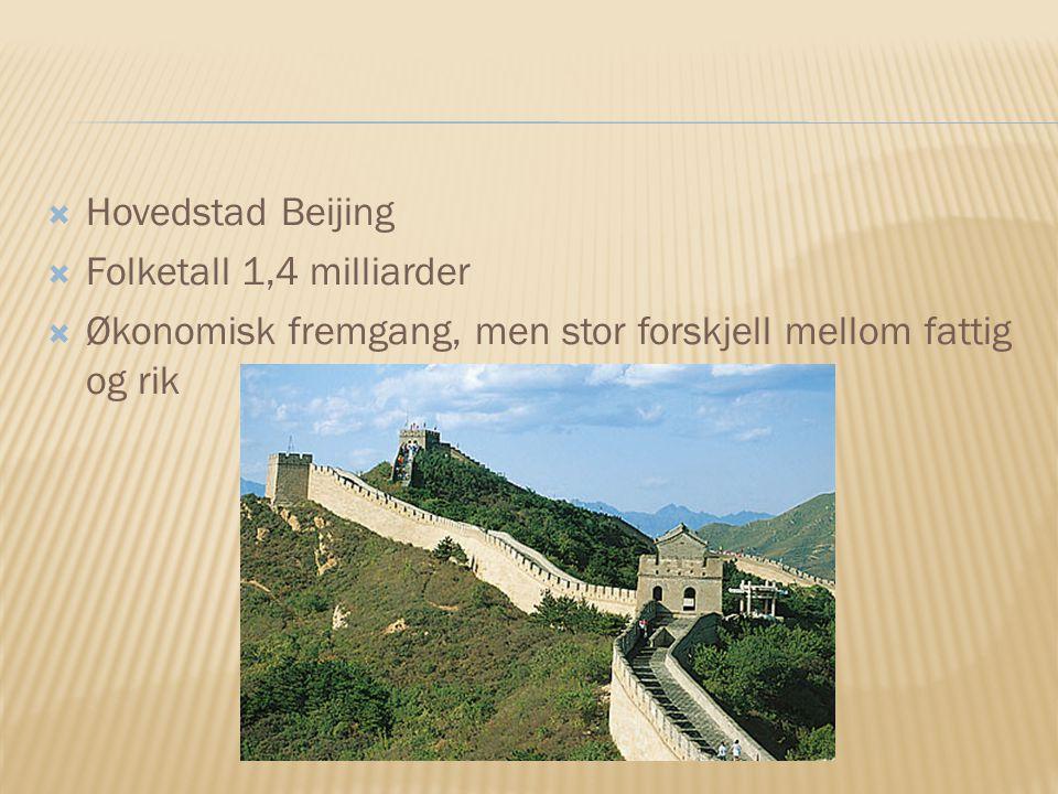Hovedstad Beijing Folketall 1,4 milliarder.