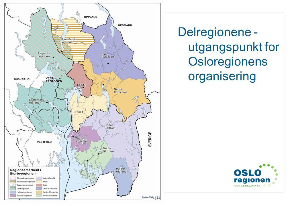 Delregionene - utgangspunkt for Osloregionens organisering