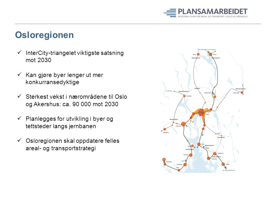 Osloregionen InterCity-triangelet viktigste satsning mot 2030