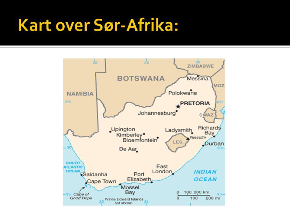 Kart over Sør-Afrika: