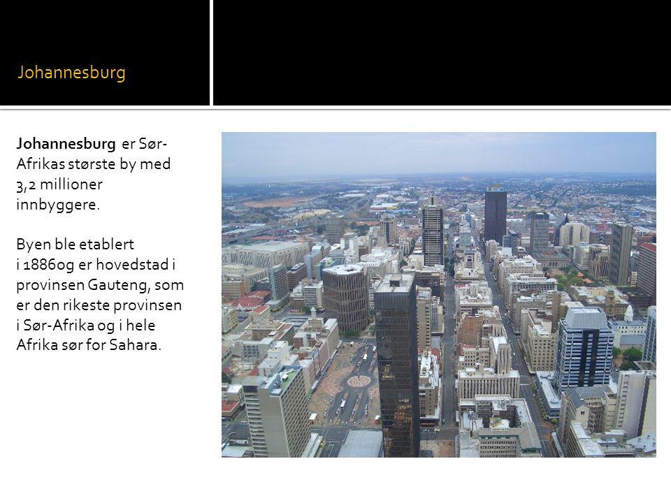 Johannesburg Johannesburg er Sør-Afrikas største by med 3,2 millioner innbyggere.