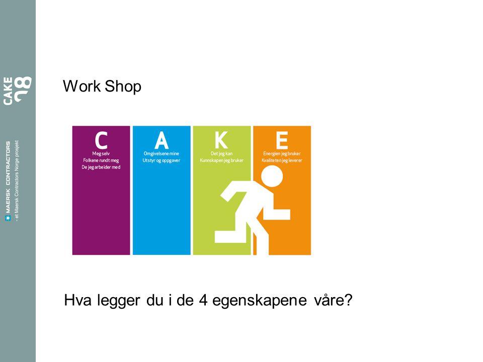 Work Shop Hva legger du i de 4 egenskapene våre