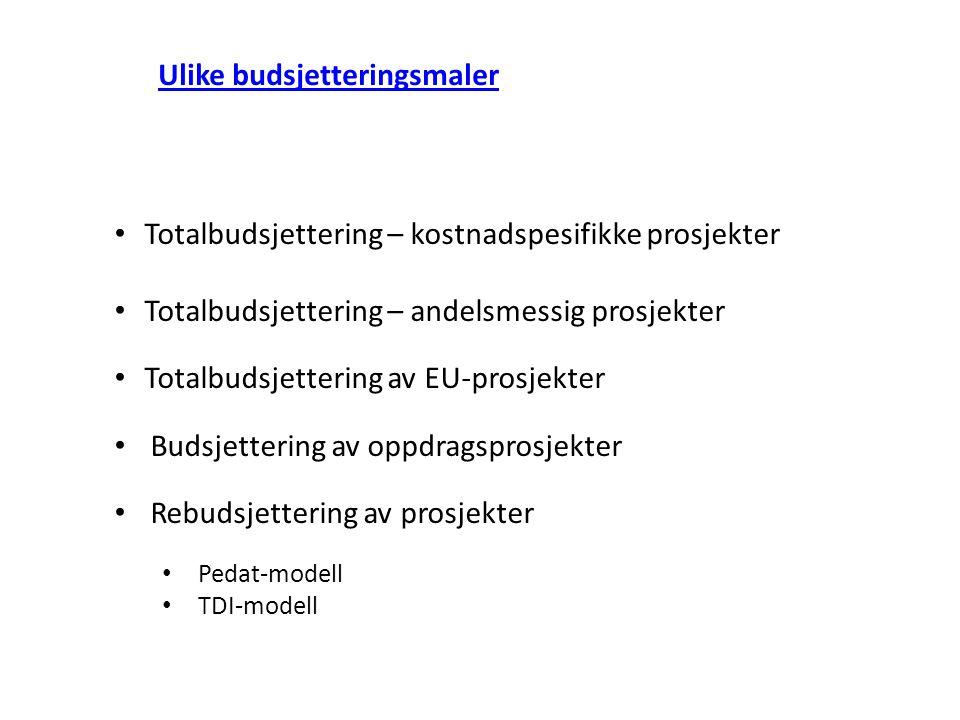 Ulike budsjetteringsmaler