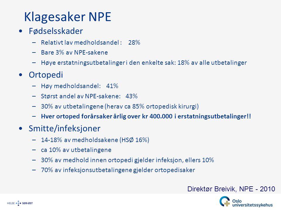 Klagesaker NPE Fødselsskader Ortopedi Smitte/infeksjoner