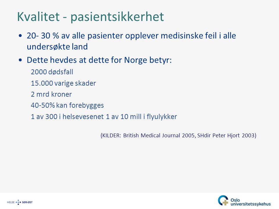 Kvalitet - pasientsikkerhet
