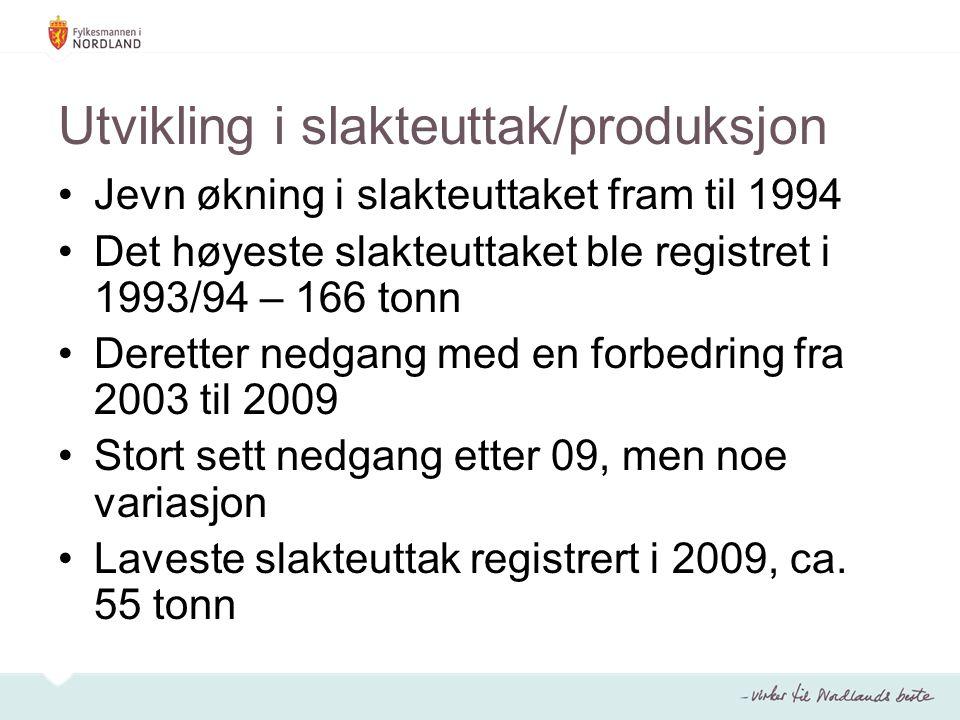 Utvikling i slakteuttak/produksjon