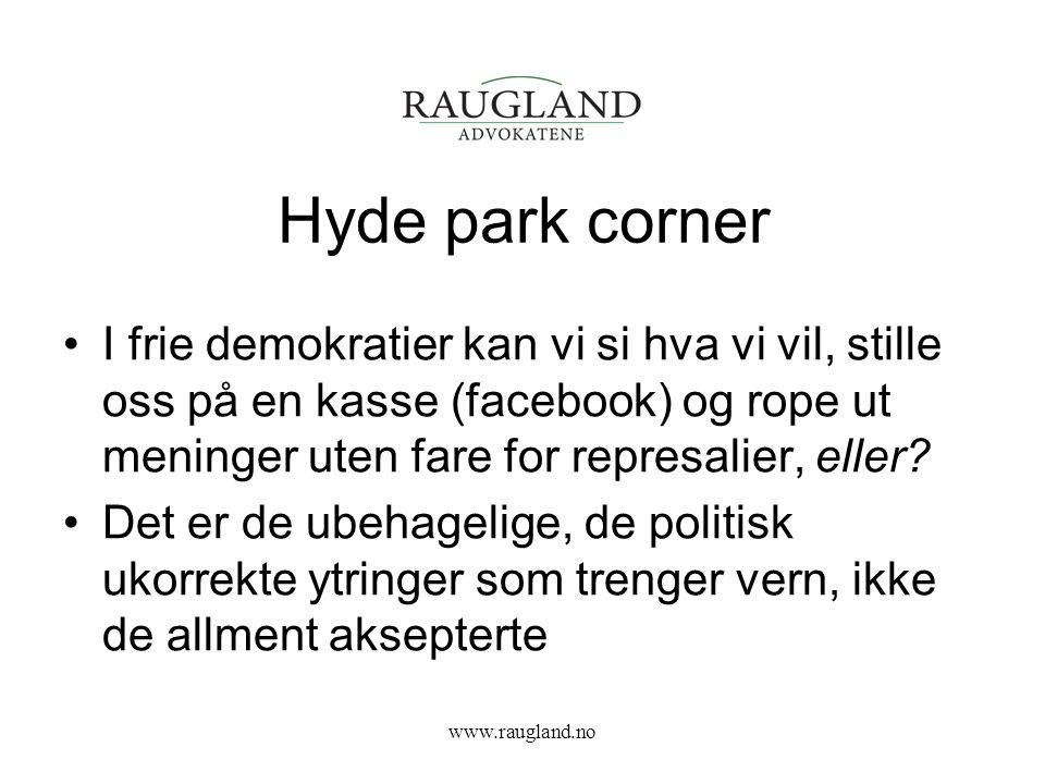 Hyde park corner I frie demokratier kan vi si hva vi vil, stille oss på en kasse (facebook) og rope ut meninger uten fare for represalier, eller