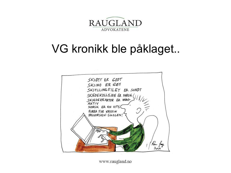 VG kronikk ble påklaget..