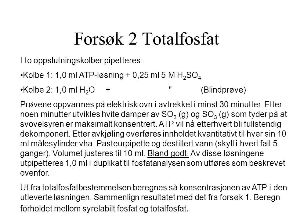 Forsøk 2 Totalfosfat I to oppslutningskolber pipetteres: