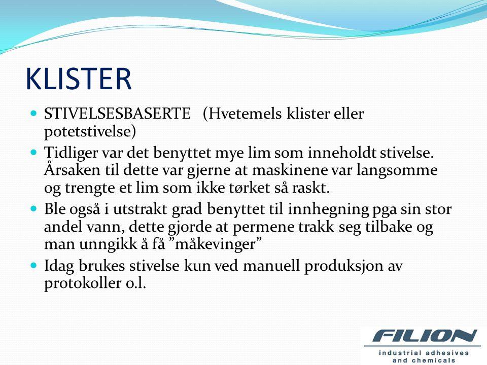 KLISTER STIVELSESBASERTE (Hvetemels klister eller potetstivelse)