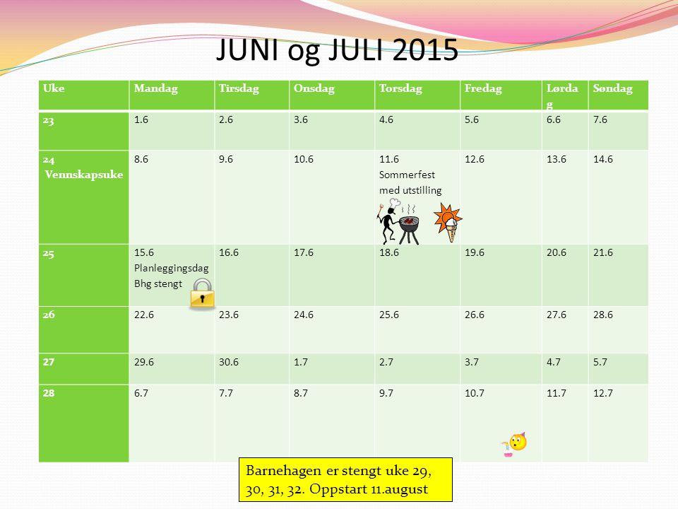 JUNI og JULI 2015 Uke. Mandag. Tirsdag. Onsdag. Torsdag. Fredag. Lørdag. Søndag. 23. 1.6.