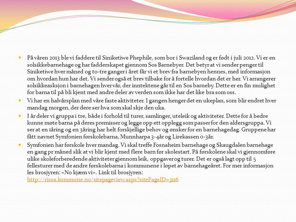 På våren 2013 ble vi faddere til Siniketiwe Phephile, som bor i Swaziland og er født i juli 2012. Vi er en solsikkebarnehage og har fadderskapet gjennom Sos Barnebyer. Det betyr at vi sender penger til Siniketiwe hver måned og to-tre ganger i året får vi et brev fra barnebyen hennes, med informasjon om hvordan hun har det. Vi sender også et brev tilbake for å fortelle hvordan det er her. Vi arrangerer solsikkeasksjon i barnehagen hver vår, der inntektene går til en Sos barneby. Dette er en fin mulighet for barna til på bli kjent med andre deler av verden som ikke har det like bra som oss.
