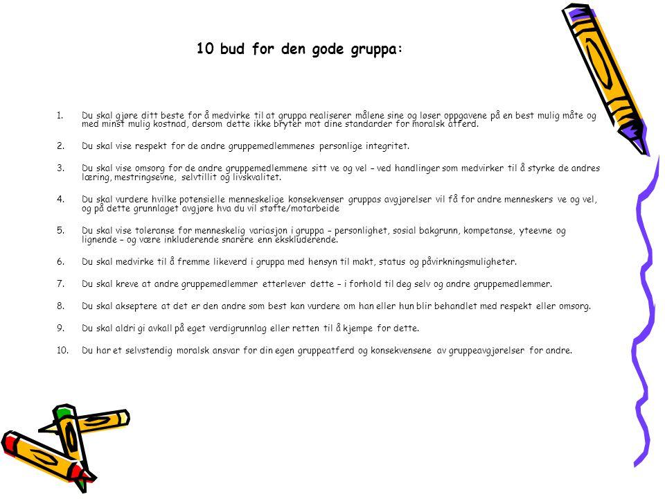 10 bud for den gode gruppa: