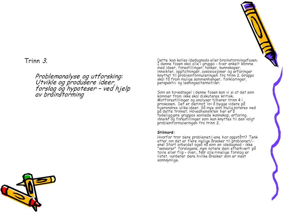 Trinn 3. Problemanalyse og utforsking: Utvikle og produsere ideer, forslag og hypoteser – ved hjelp av brainstorming.