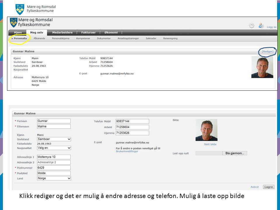 Klikk rediger og det er mulig å endre adresse og telefon