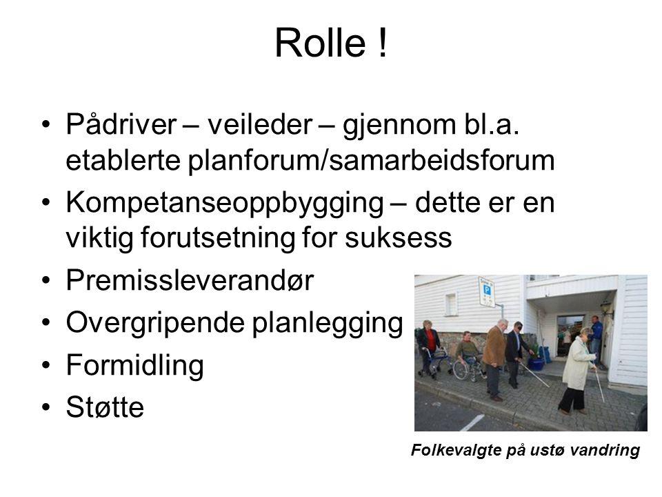 Rolle ! Pådriver – veileder – gjennom bl.a. etablerte planforum/samarbeidsforum. Kompetanseoppbygging – dette er en viktig forutsetning for suksess.