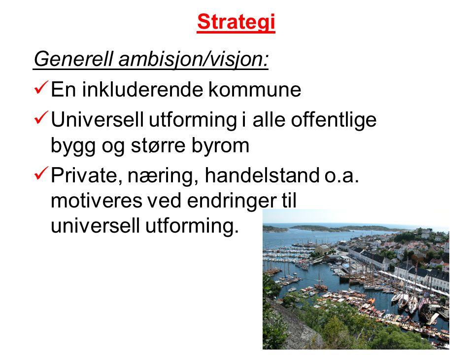 Strategi Generell ambisjon/visjon: En inkluderende kommune. Universell utforming i alle offentlige bygg og større byrom.