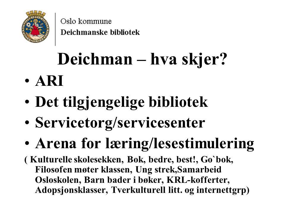 Deichman – hva skjer ARI Det tilgjengelige bibliotek