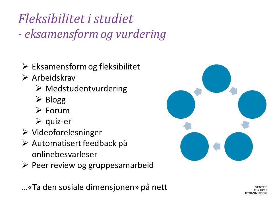 Fleksibilitet i studiet - eksamensform og vurdering