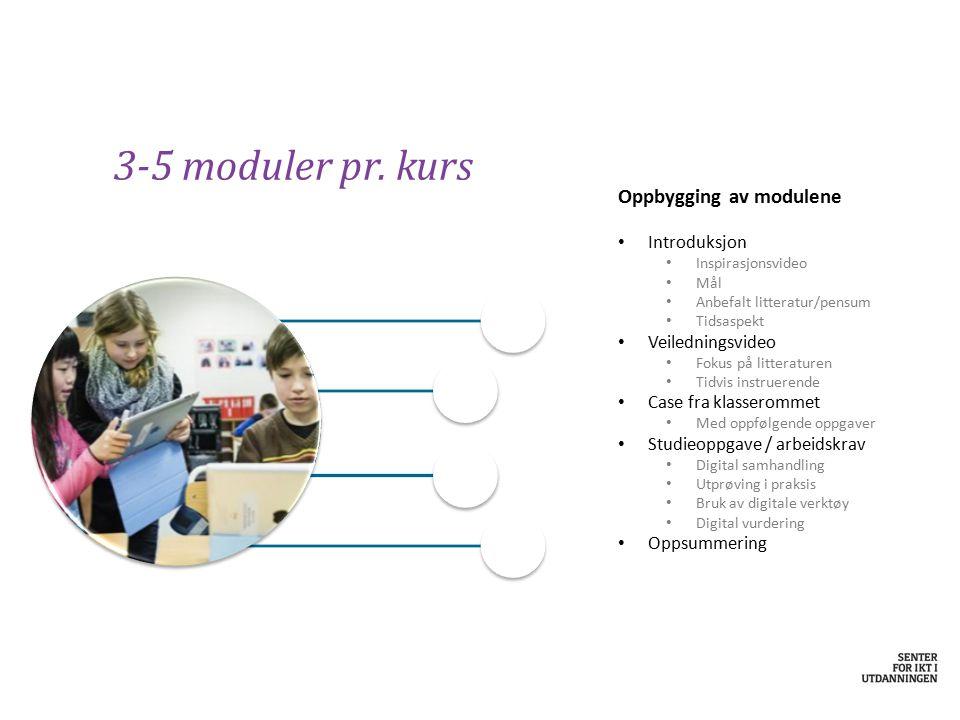 3-5 moduler pr. kurs Oppbygging av modulene Introduksjon