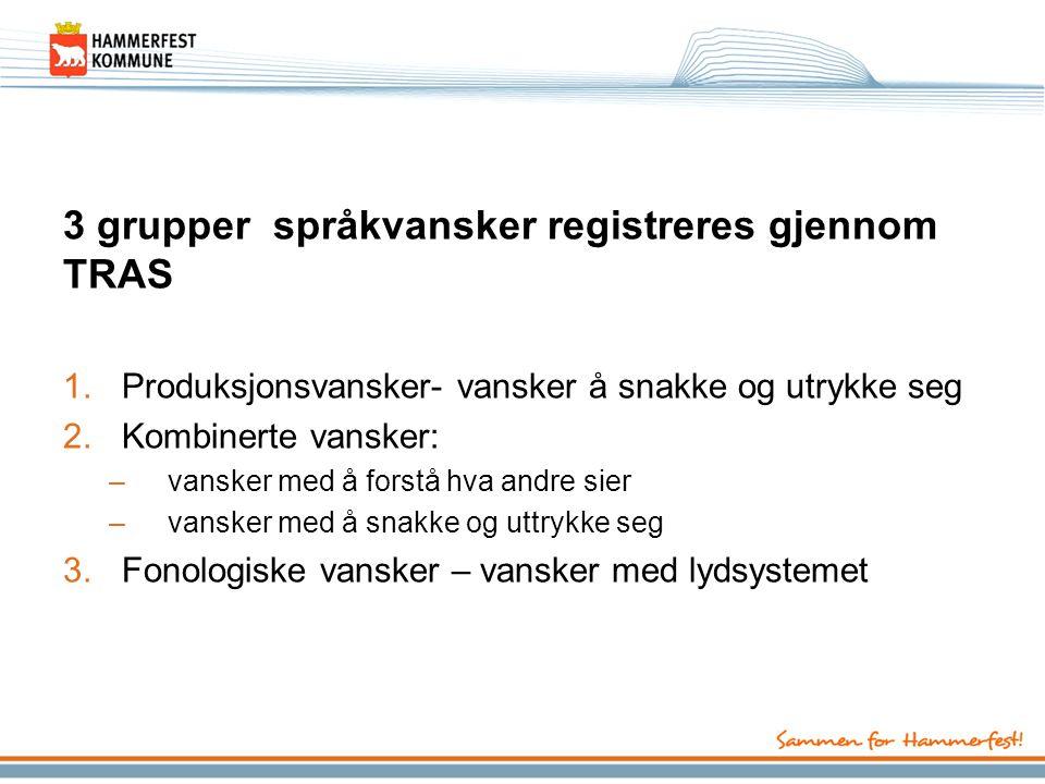 3 grupper språkvansker registreres gjennom TRAS