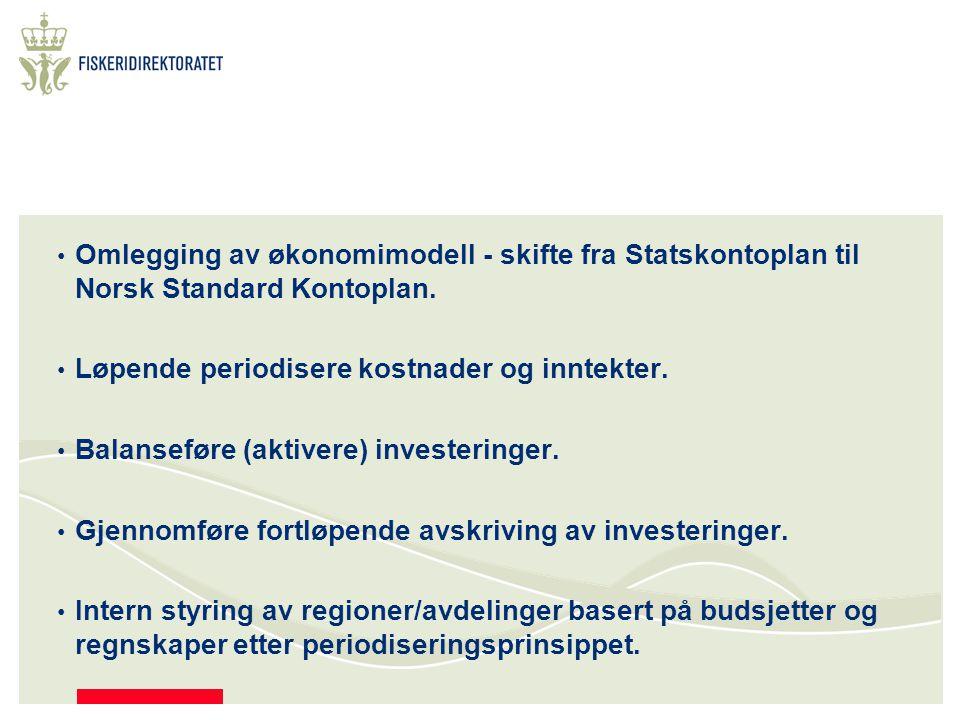 Omlegging av økonomimodell - skifte fra Statskontoplan til Norsk Standard Kontoplan.
