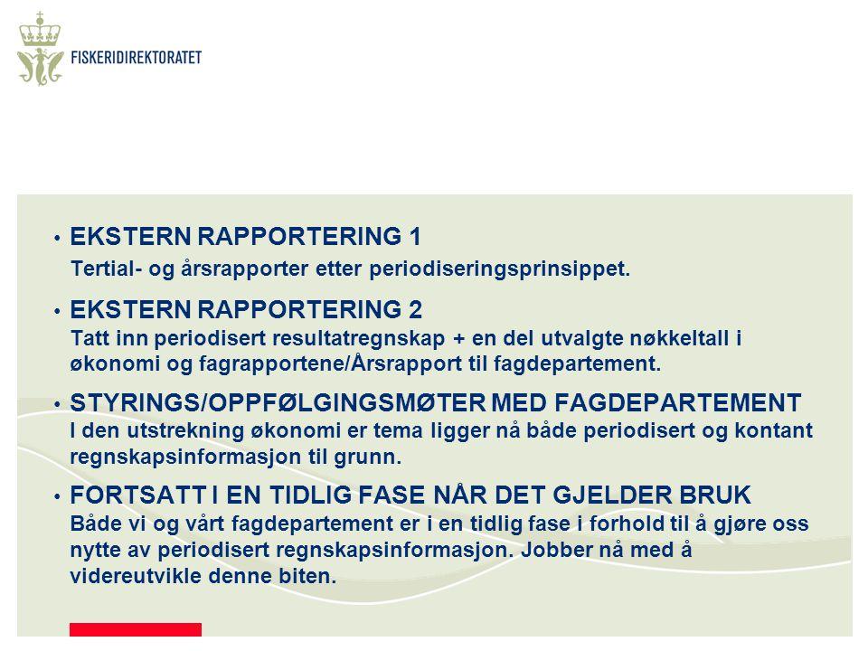 EKSTERN RAPPORTERING 1 Tertial- og årsrapporter etter periodiseringsprinsippet.