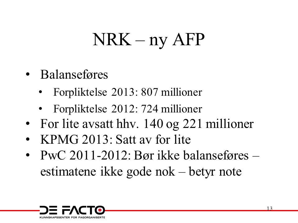 NRK – ny AFP Balanseføres For lite avsatt hhv. 140 og 221 millioner