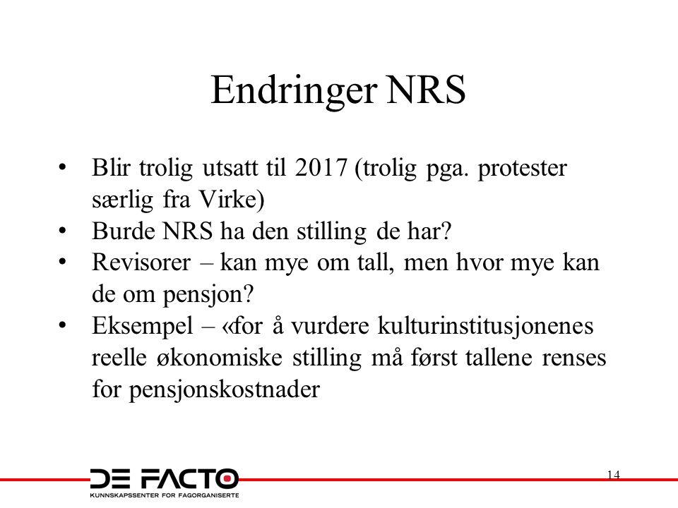 Endringer NRS Blir trolig utsatt til 2017 (trolig pga. protester særlig fra Virke) Burde NRS ha den stilling de har