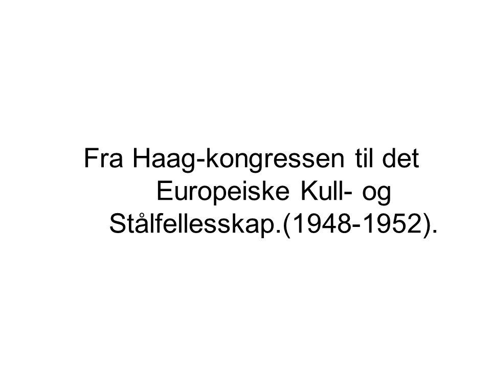 Fra Haag-kongressen til det Europeiske Kull- og Stålfellesskap