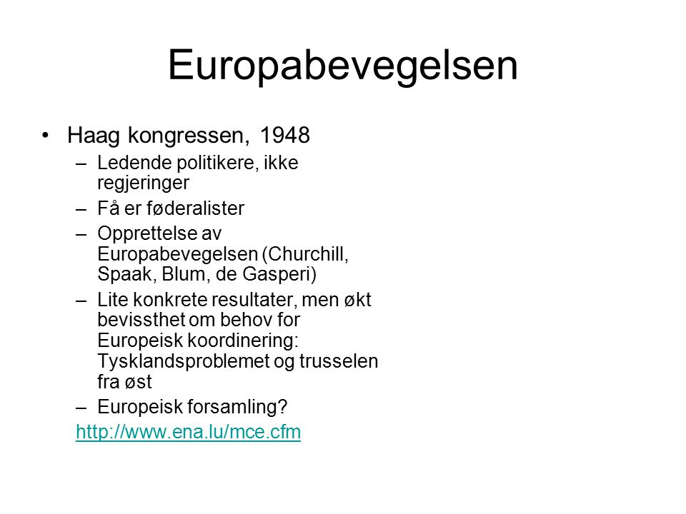 Europabevegelsen Haag kongressen, 1948