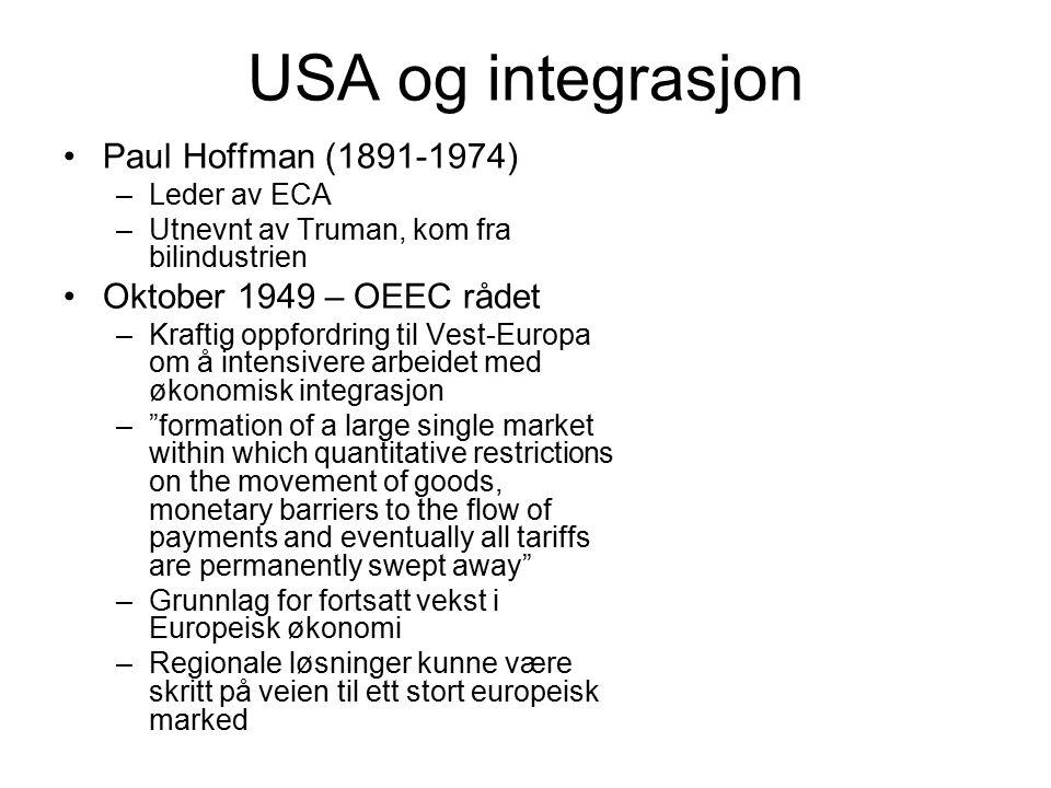 USA og integrasjon Paul Hoffman (1891-1974) Oktober 1949 – OEEC rådet