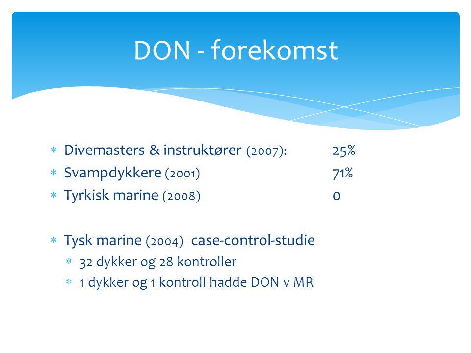 DON - forekomst Divemasters & instruktører (2007): 25%