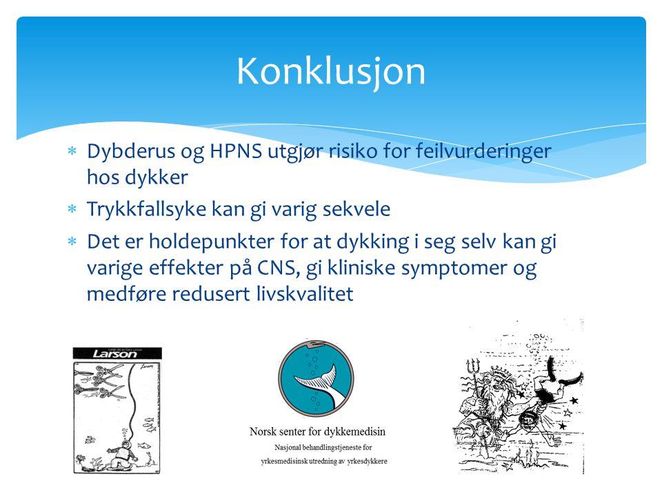 Konklusjon Dybderus og HPNS utgjør risiko for feilvurderinger hos dykker. Trykkfallsyke kan gi varig sekvele.