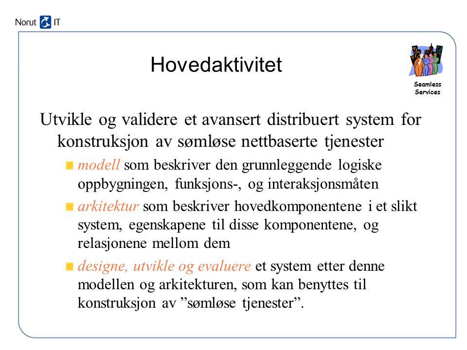Hovedaktivitet Utvikle og validere et avansert distribuert system for konstruksjon av sømløse nettbaserte tjenester.