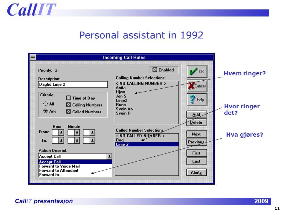 Personal assistant in 1992 Hvem ringer Hvor ringer det Hva gjøres