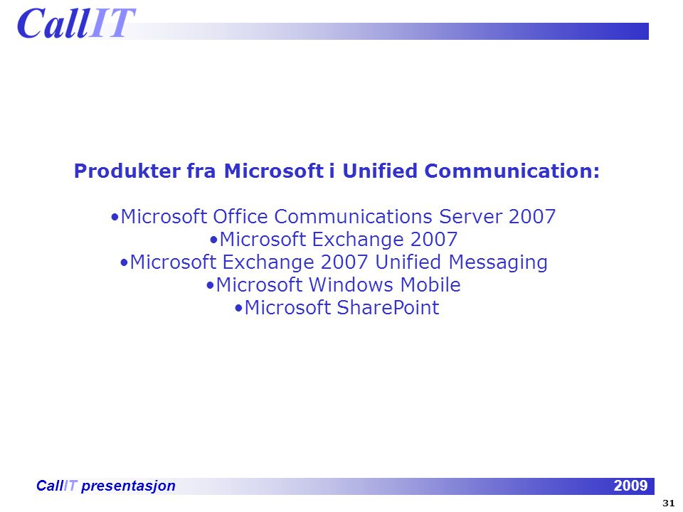 Produkter fra Microsoft i Unified Communication: