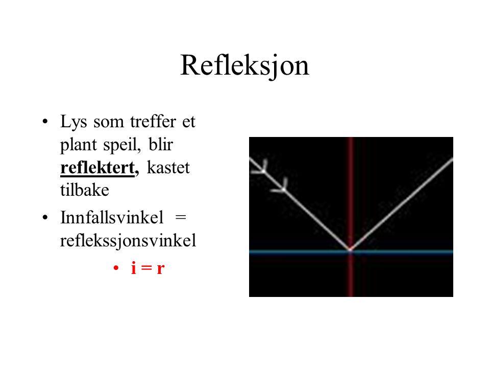 Refleksjon Lys som treffer et plant speil, blir reflektert, kastet tilbake. Innfallsvinkel = reflekssjonsvinkel.