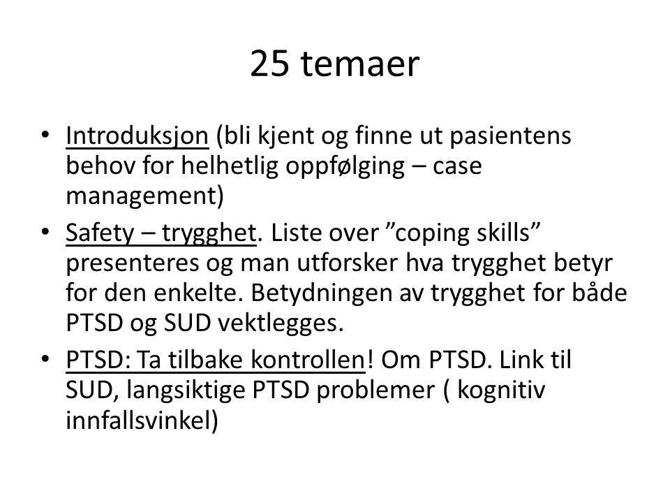 25 temaer Introduksjon (bli kjent og finne ut pasientens behov for helhetlig oppfølging – case management)