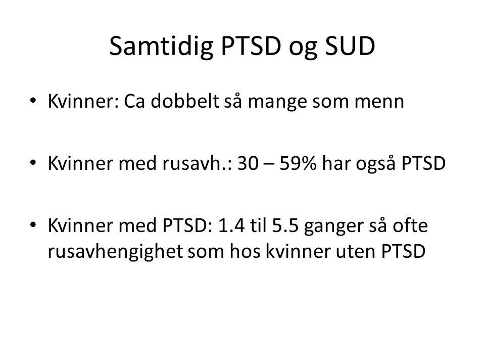 Samtidig PTSD og SUD Kvinner: Ca dobbelt så mange som menn