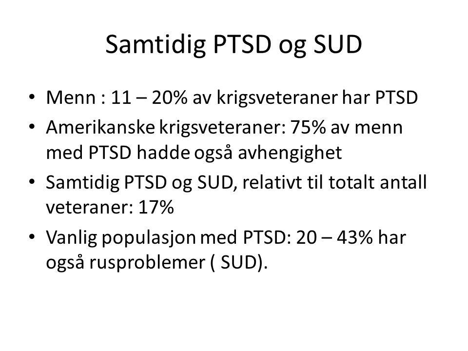 Samtidig PTSD og SUD Menn : 11 – 20% av krigsveteraner har PTSD