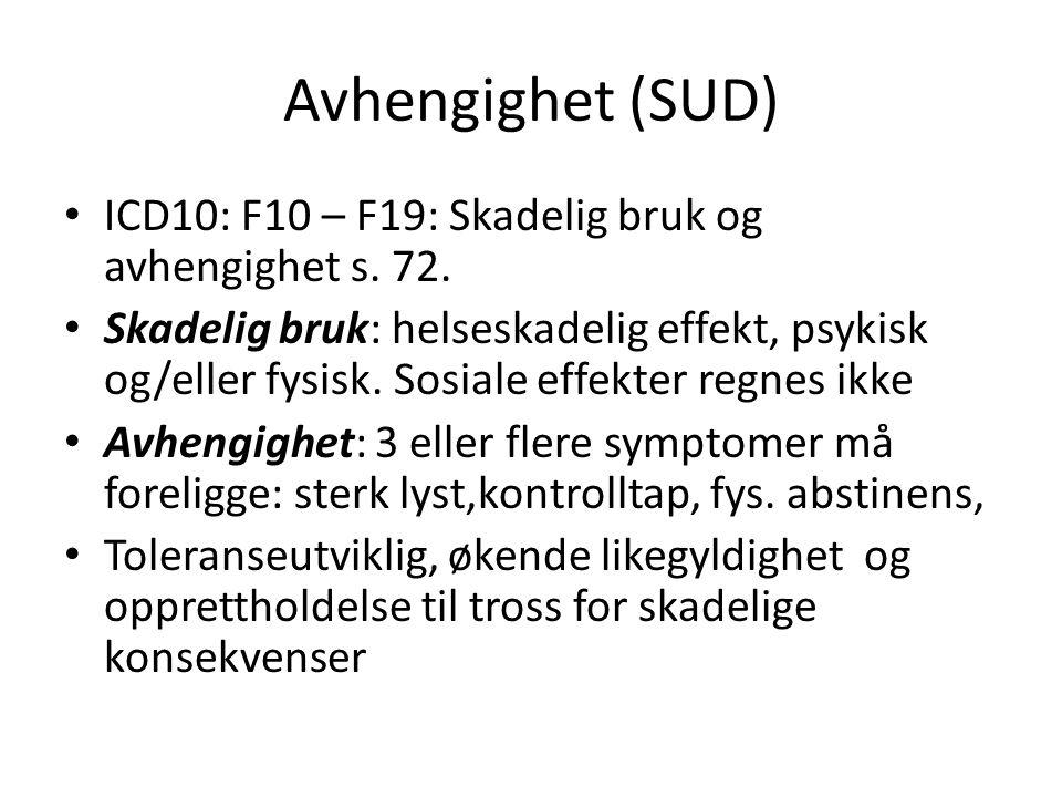 Avhengighet (SUD) ICD10: F10 – F19: Skadelig bruk og avhengighet s. 72.