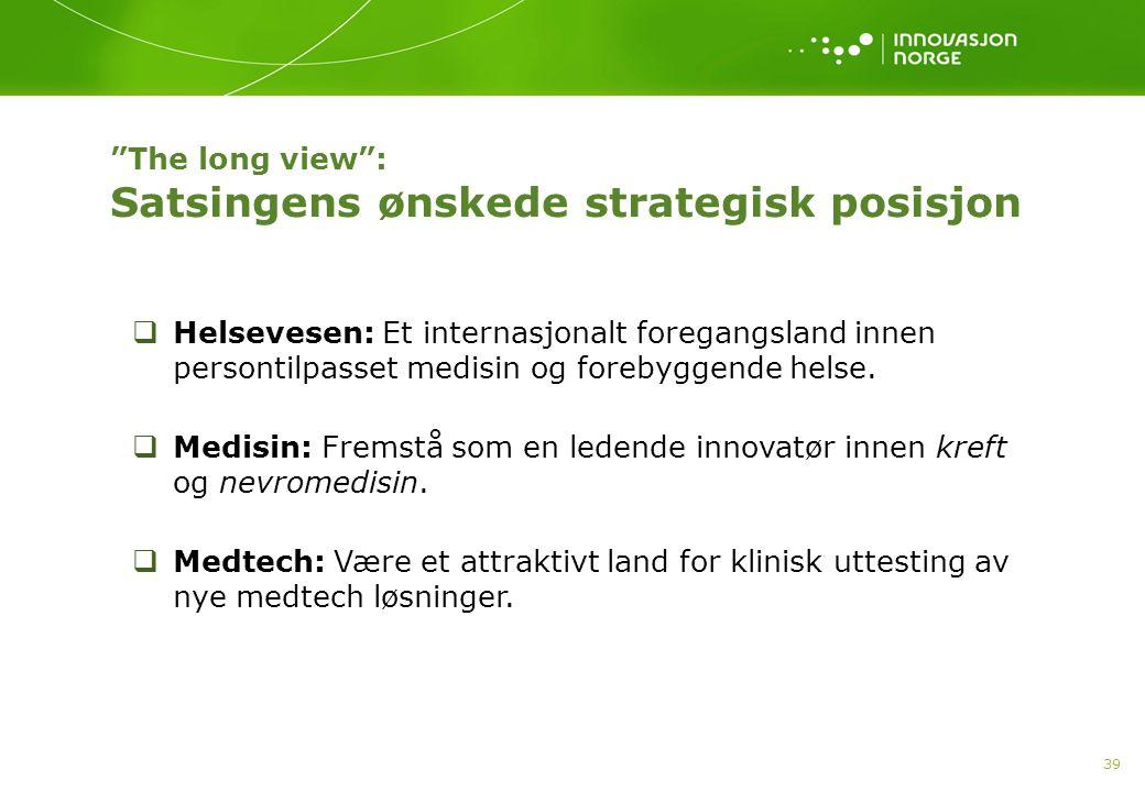 The long view : Satsingens ønskede strategisk posisjon