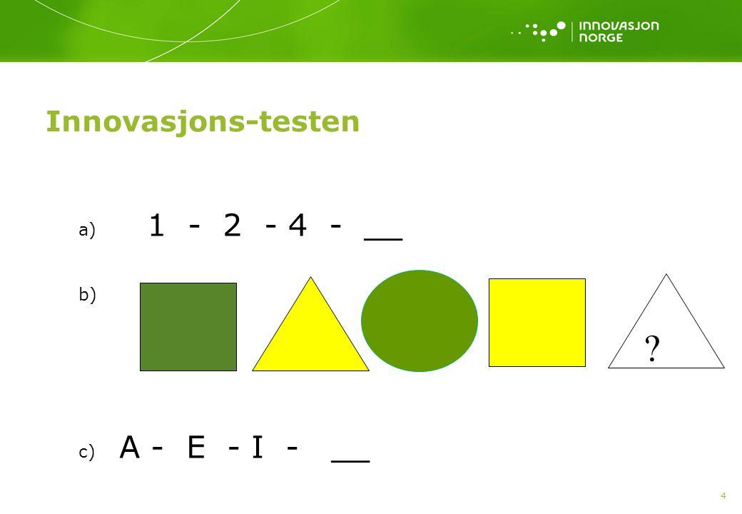 Innovasjons-testen a) 1 - 2 - 4 - __ b) c) A - E - I - __