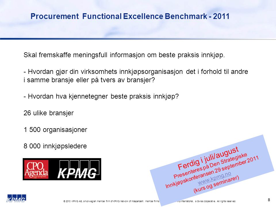 Procurement Functional Excellence Benchmark - 2011