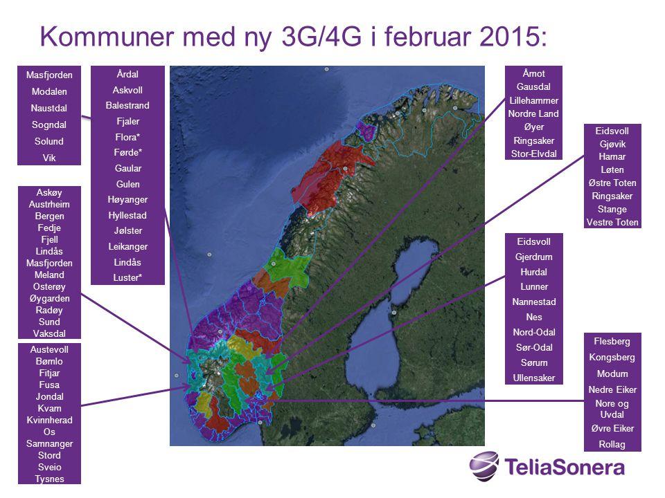 Kommuner med ny 3G/4G i februar 2015: